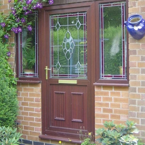 Composite front door made to look like timber