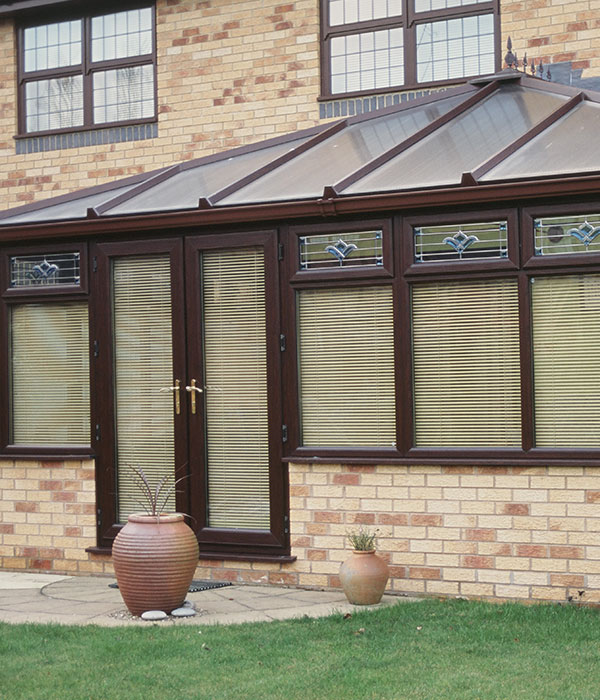 Wood effect conservatory