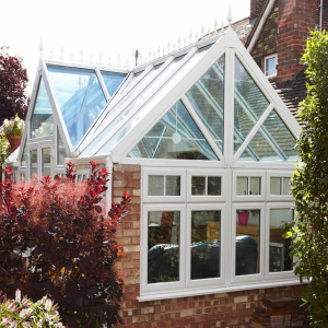 Exterior of a white atrium style conservatory