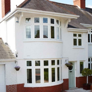 uPVC bow windows in a semi-detached house