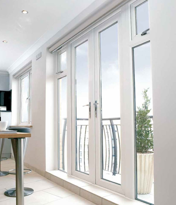 French doors with white uPVC frames