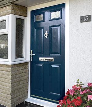 Blue composite doors
