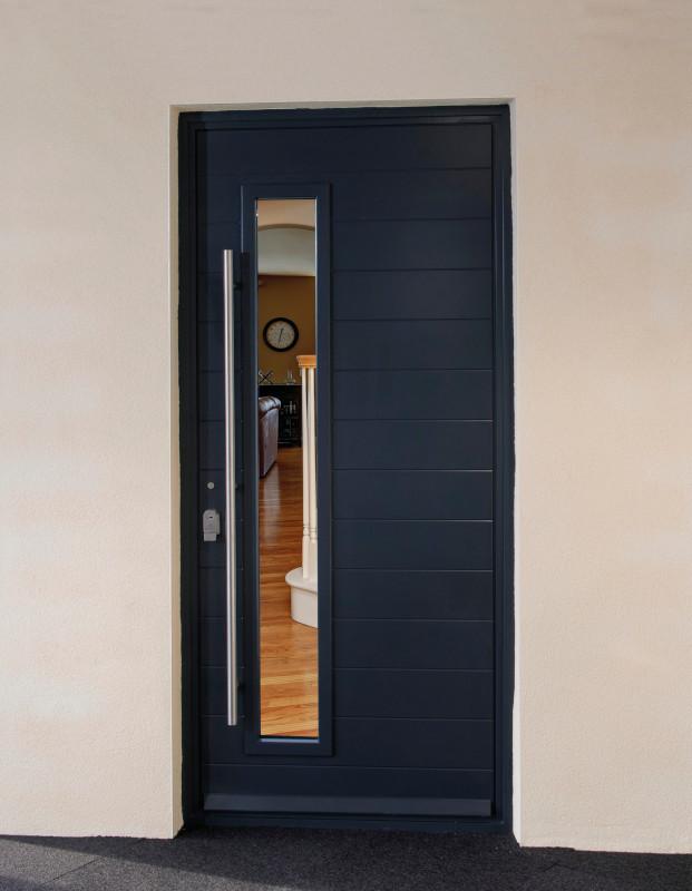 Alufold aluminium entrance door in black